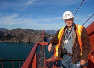Steel inspector on Golden Gate Bridge